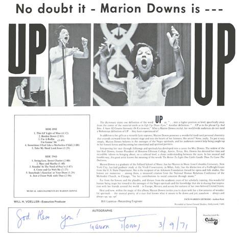 Autographed by Marion Downs